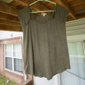 Army green moral fiber tee shirt with straps